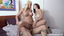 FamilyStrokes - Kenzie Taylor, Lacey Channing - Platonic Turns Pornographic