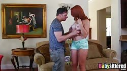 Delicious redhead babysitter loves riding big hard cock