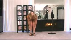 Hot blonde takes off her clothes to show off her pussy and ass