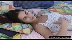 Sexy brunette teen fuck dildo in bedroom